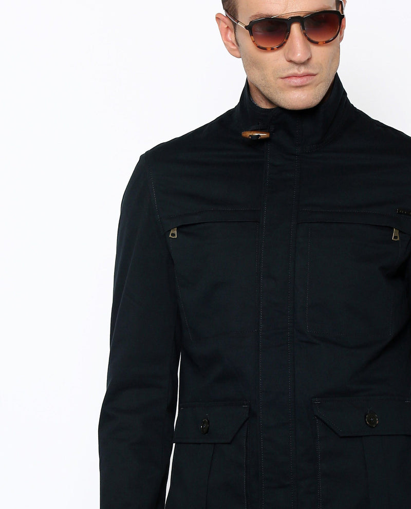 TED- OUTERWEAR JACKET- NAVY COTTON JACKET RARE RABBIT
