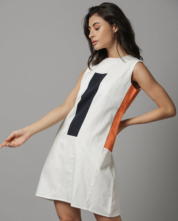 SPACE-SLEEVELESS SHORT DRESS-OFFWHITE DRESS RAREISM