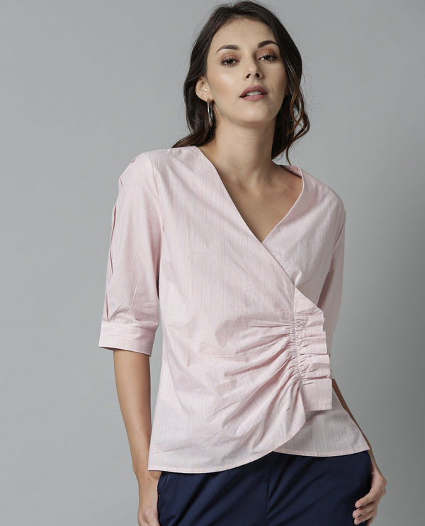JULIET-RUFFLED V NECK TOP-PINK TOP RAREISM
