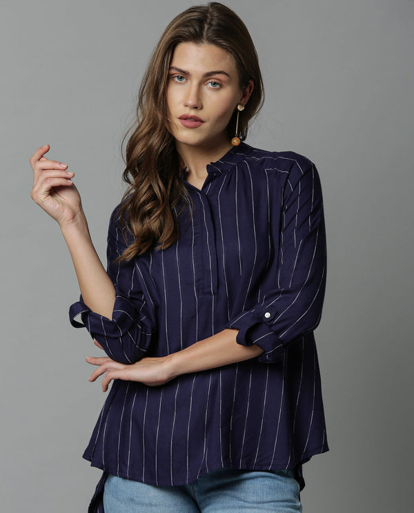 SHY-STRIPE SHIRT-NAVY TOP RAREISM