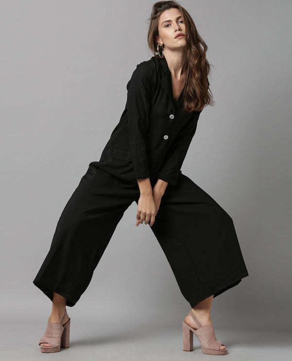 HAREM- SOlID LAPEL JUMPSUIT-BLACK JUMPSUIT RAREISM