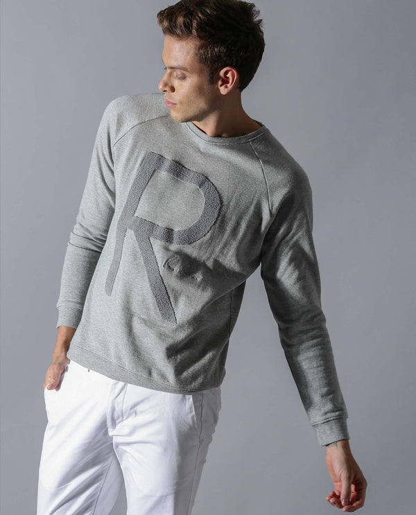 BOOMIE 2-MEN'S STYLISH MELANGE SWEATSHIRT-GREY T-SHIRT RARE RABBIT