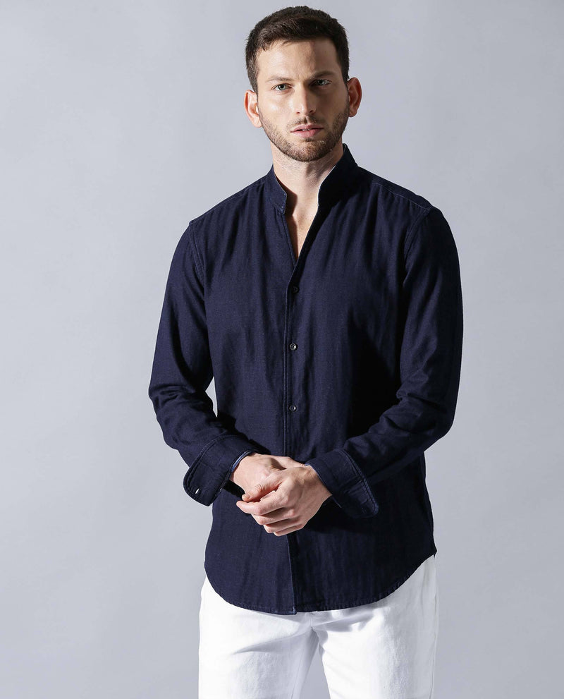 DOUBLE- Linen SHIRT-NAVY SHIRT RARE RABBIT