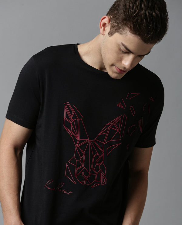 FLAME-2- GRAPHIC PRINTED T SHIRT-BLACK T-SHIRT RARE RABBIT