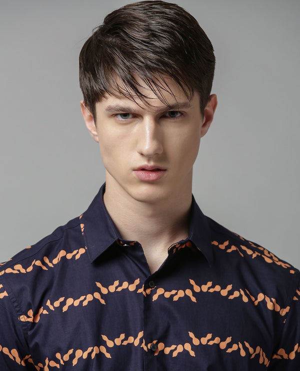MORAR-PRINTED SHIRT-NAVY SHIRT RARE RABBIT