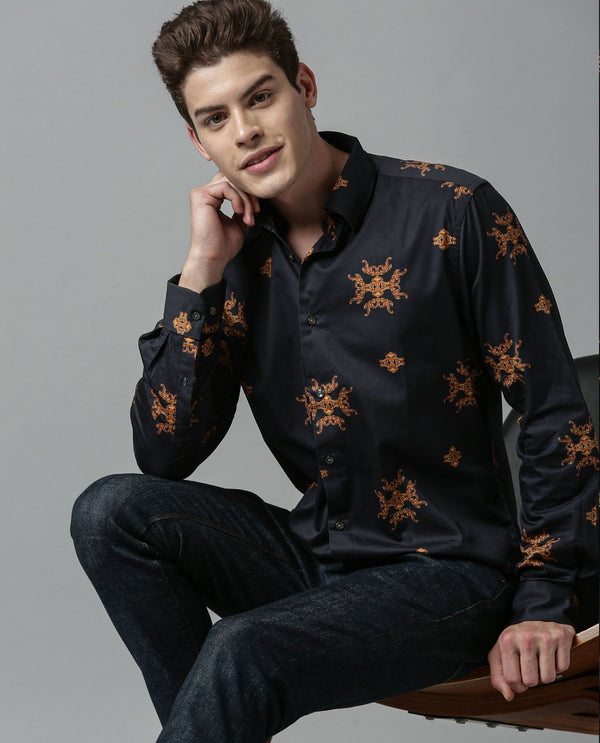 VICEROY-TEXTURED PRINTED SHIRT-BLACK SHIRT RARE RABBIT