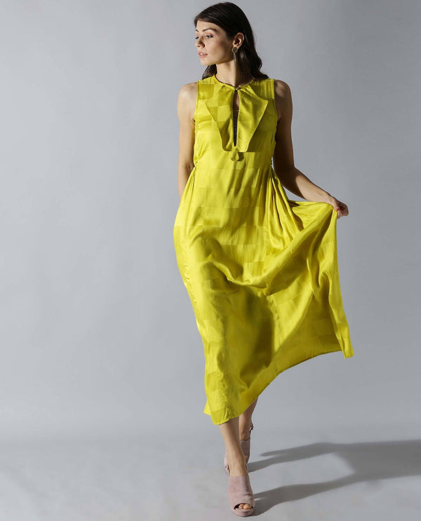 DART-SLEEVELESS LONG DRESS-YELLOW DRESS RAREISM
