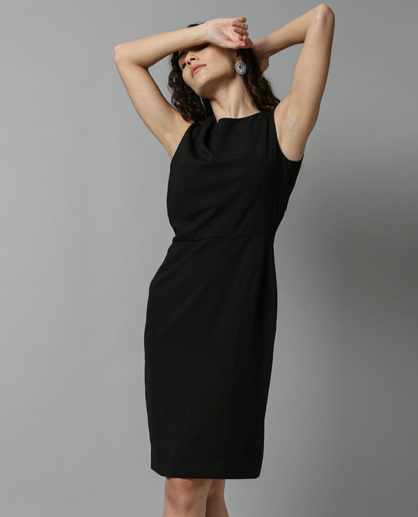 MISSY-SLEEVELESS SHIFT DRESS-BLACK DRESS RAREISM