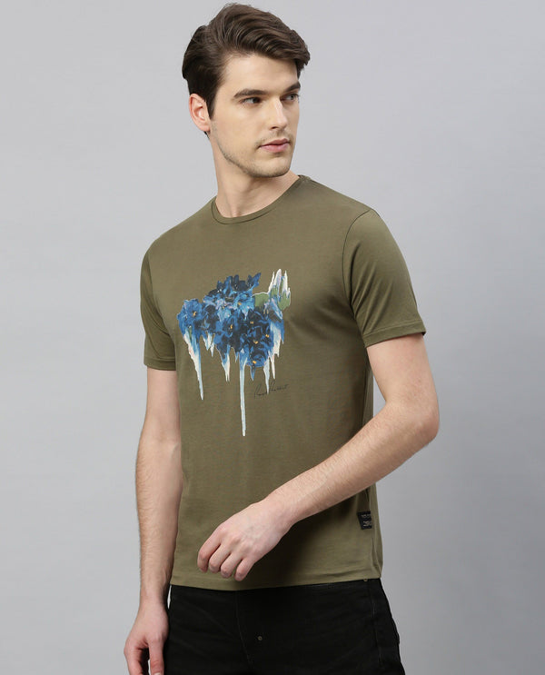 ABIS-ABSTRACT PRINT PIMA T-SHIRT-OLIVE T-SHIRT RARE RABBIT
