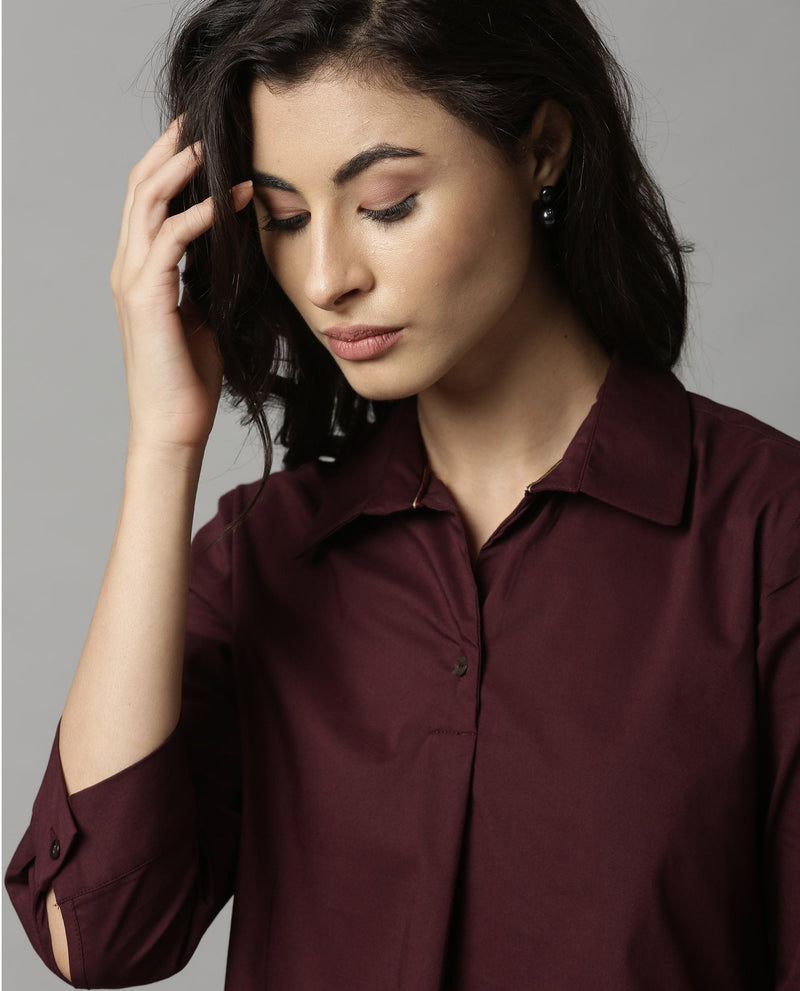 ABODE-SOLID SHIRT-MAROON TOPS RAREISM
