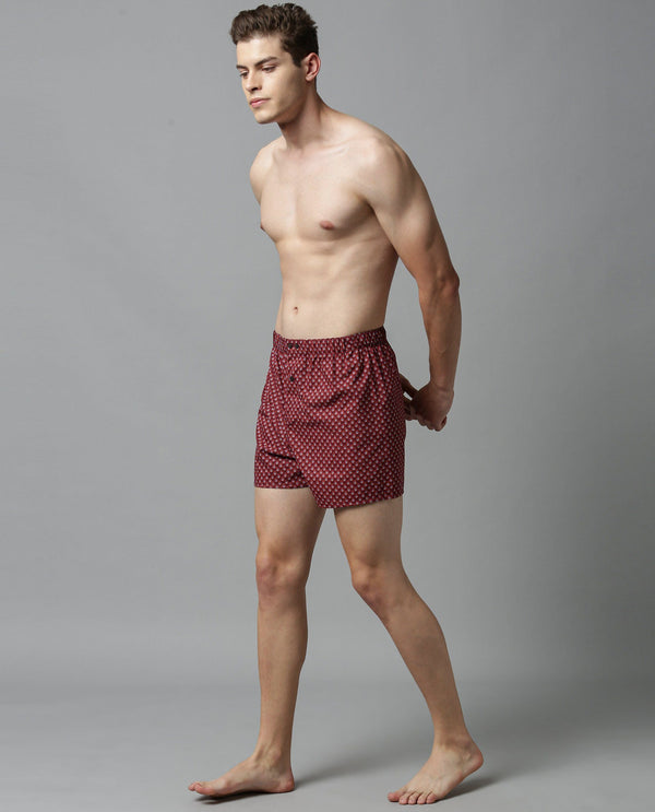TREVOR-MEN'S COMFORT BOXERS-BROWN BOXER RARE RABBIT