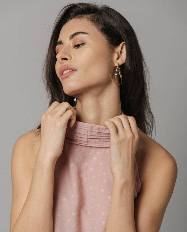 FEATHER- PLEATED COLLAR HALTER NECK TOP -DIRTY PINK TOP RAREISM