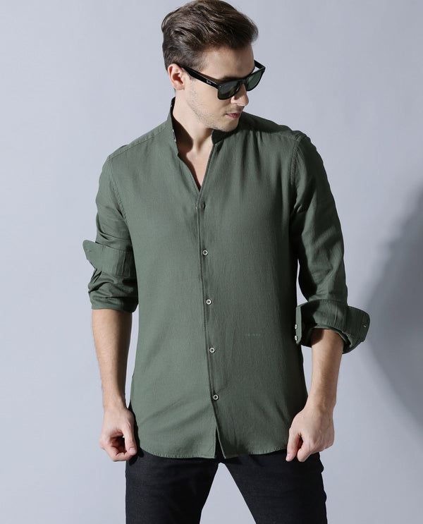 WAFF LS- V NECK SHIRT- GREEN SHIRT RARE RABBIT