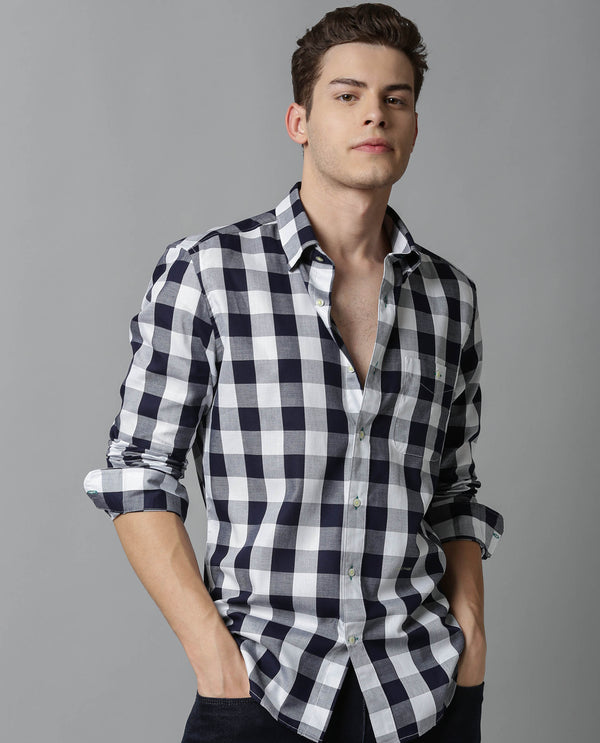 GINGHAM-CHECK SHIRT-NAVY SHIRT THE HOUSE OF RARE