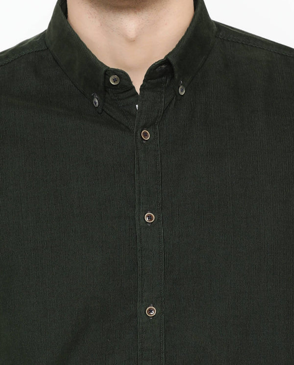 Cordroy-Solid Shirt-Green