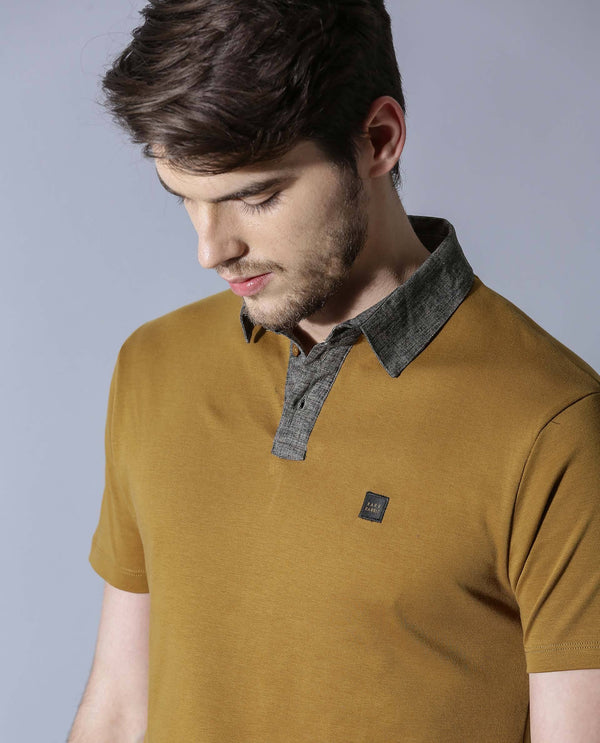 JORA-WOVEN COLLAR POLO-MUSTARD POLO RARE RABBIT