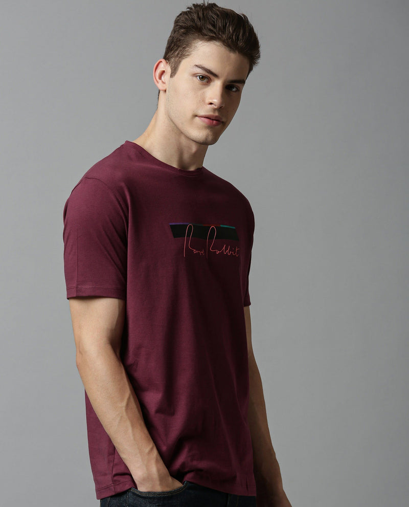 ORRA- HIGH DEFINITION PRINT- MAROON T-SHIRT RARE RABBIT