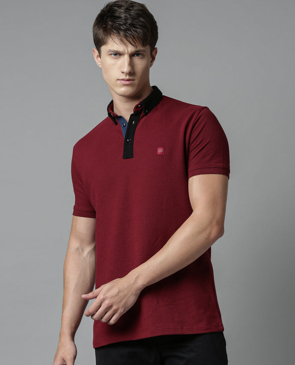 TERKON- PIMA POLO T-SHIRT - MAROON POLO RARE RABBIT