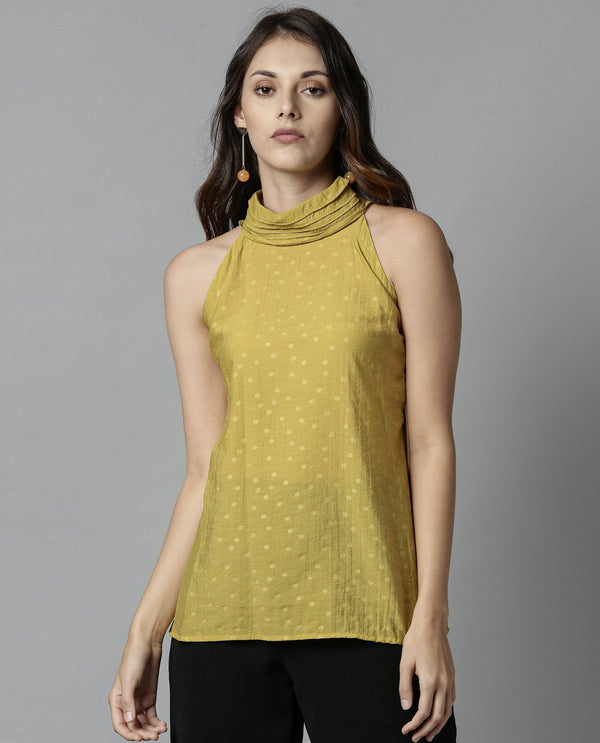 FEATHER-HALTER NECK SLEEVELESS TOP-YELLOW TOP RAREISM