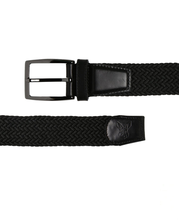 BRENDON-WOVEN CORD BELT- BLACK RR BELTS RARE RABBIT