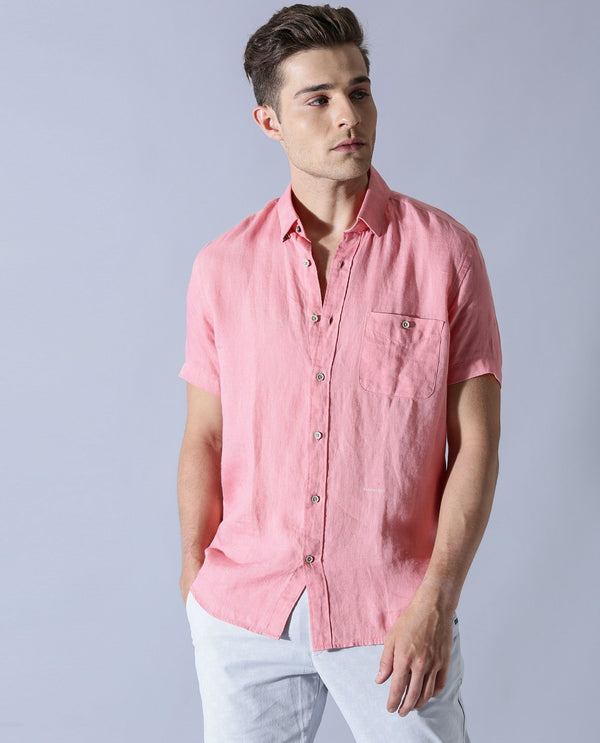 EXPRESS-Casual Shirt-PINK SHIRT RARE RABBIT