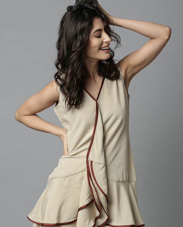 EDGE-SHORT SLEEVELESS DRESS-BEIGE DRESS RAREISM
