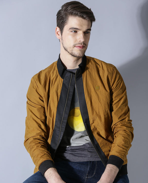 BASE-MEN'S STYLISH BOMBER JACKET-MUSTARD JACKETS RARE RABBIT