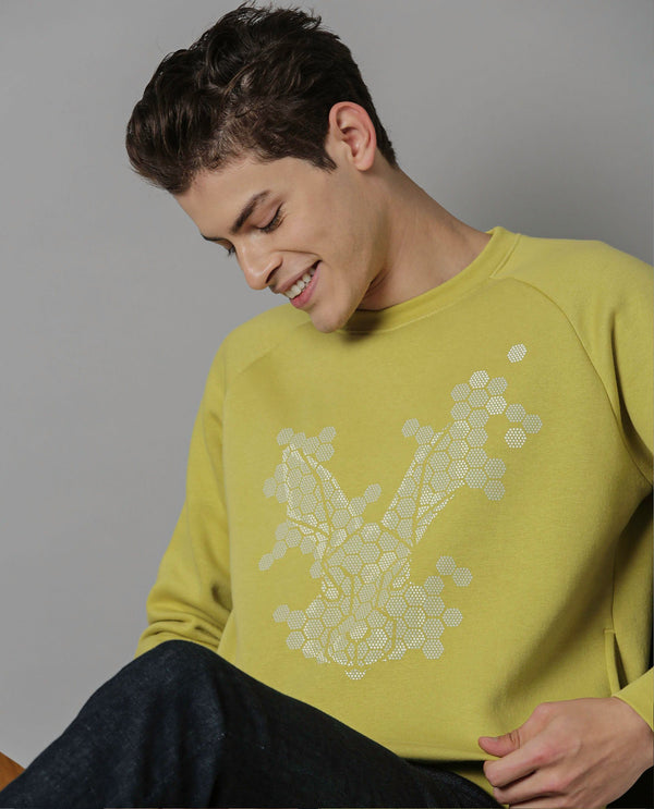HEXOLO- COTTON SWEAT SHIRT- YELLOW SWEATSHIRT RARE RABBIT