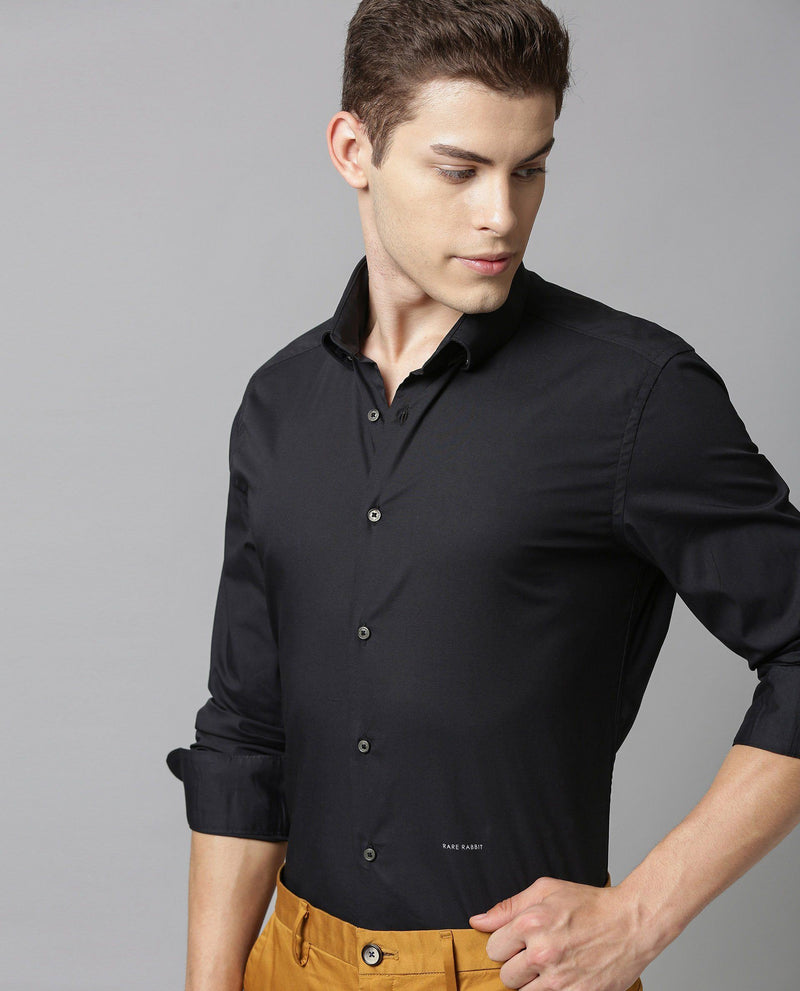 ALVIN-STRETCH SOLID SHIRT-BLACK SHIRT RARE RABBIT