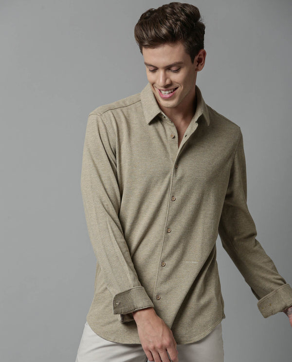 Melange Stretch Shirt-BREATHE-2-BEIGE SHIRT RARE RABBIT