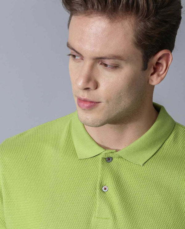 WAFFLE - SUPIMA POLO NECK T-SHIRT - GREEN POLO RARE RABBIT