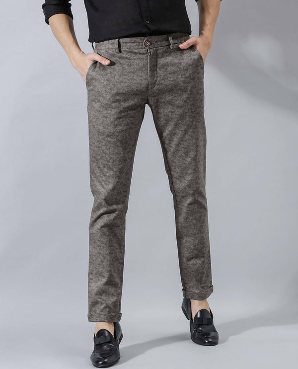 DERICC-FL-TEXTURED TROUSER-DARK GREY TROUSERS RARE RABBIT
