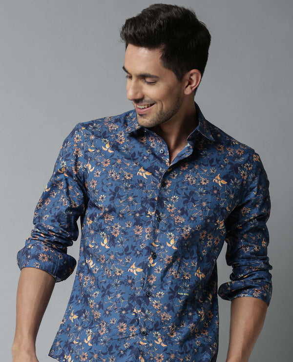 GRPSY-FANTASY PRINTED SHIRT-BLUE SHIRT RARE RABBIT