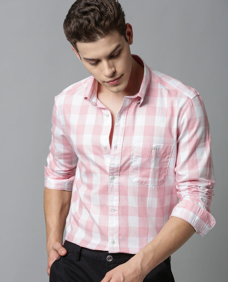 GINGHAM-CHECK SHIRT-PINK SHIRT THE HOUSE OF RARE