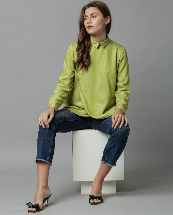 KARA-SOLID SHIRT-GREEN TOP RAREISM
