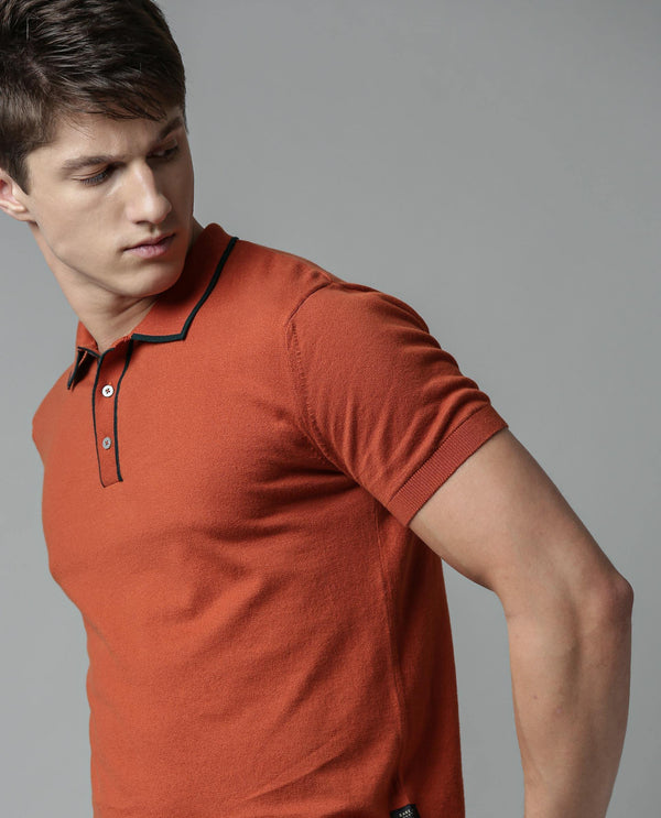 GASPY - SUPIMA COTTON POLO - RUST POLO RARE RABBIT