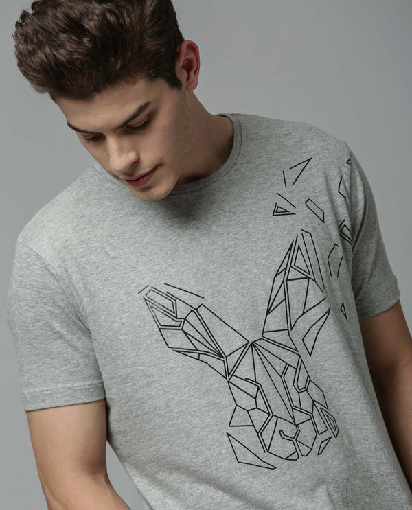 FLAME-2-PIMA COTTON GRAPHIC T-SHIRT-GRAY T-SHIRT RARE RABBIT