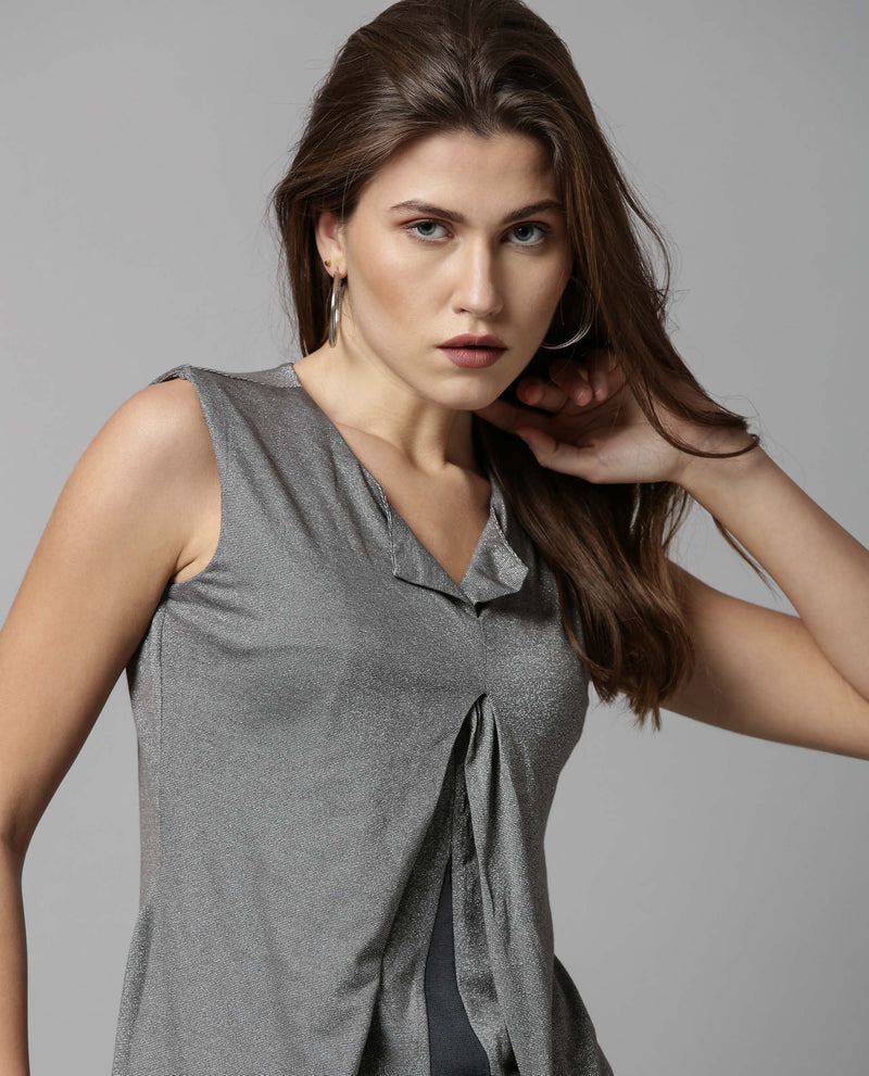 COMET-SLEEVELESS KNIT TOP-GREY TOP RAREISM