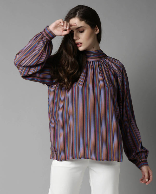 AUTUMN-STRIPE PRINTED TOP-MULTI TOP RAREISM