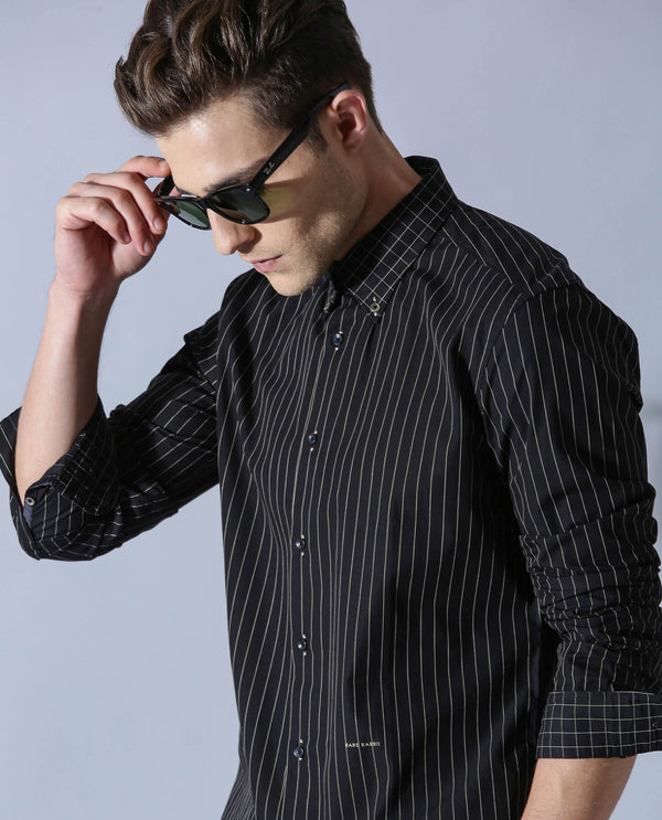MIKE - STRIPE SHIRT - BLACK SHIRT RARE RABBIT