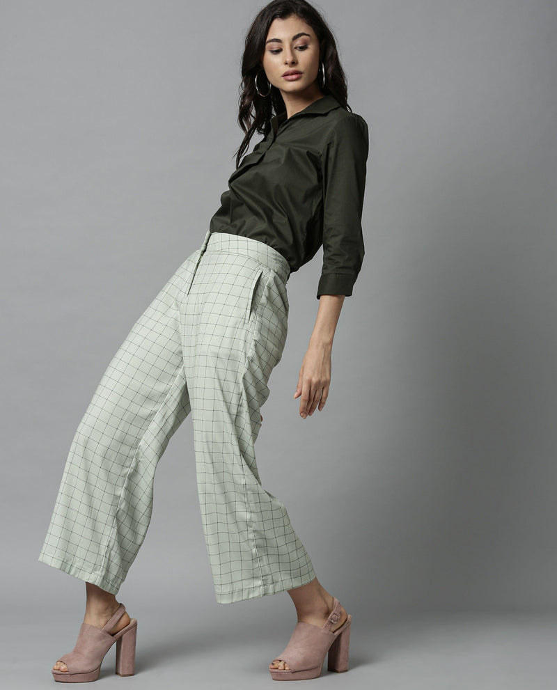 CROSS-FLARED CHECK TROUSERS-GREEN TROUSERS RAREISM