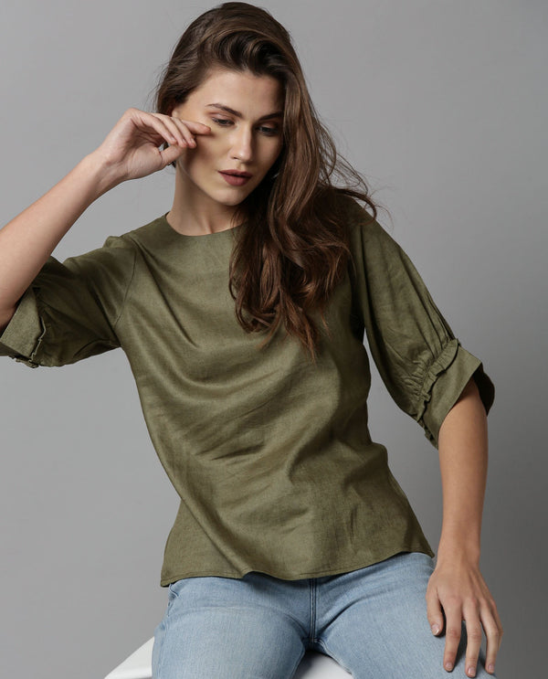 MESSI-LINEN RUFFLED SLEEVE TOP-GREEN TOP RAREISM