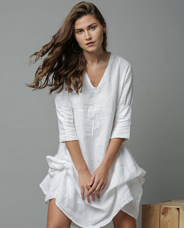 CHERRY-1-TIE UP LINEN DRESS-WHITE DRESS RAREISM