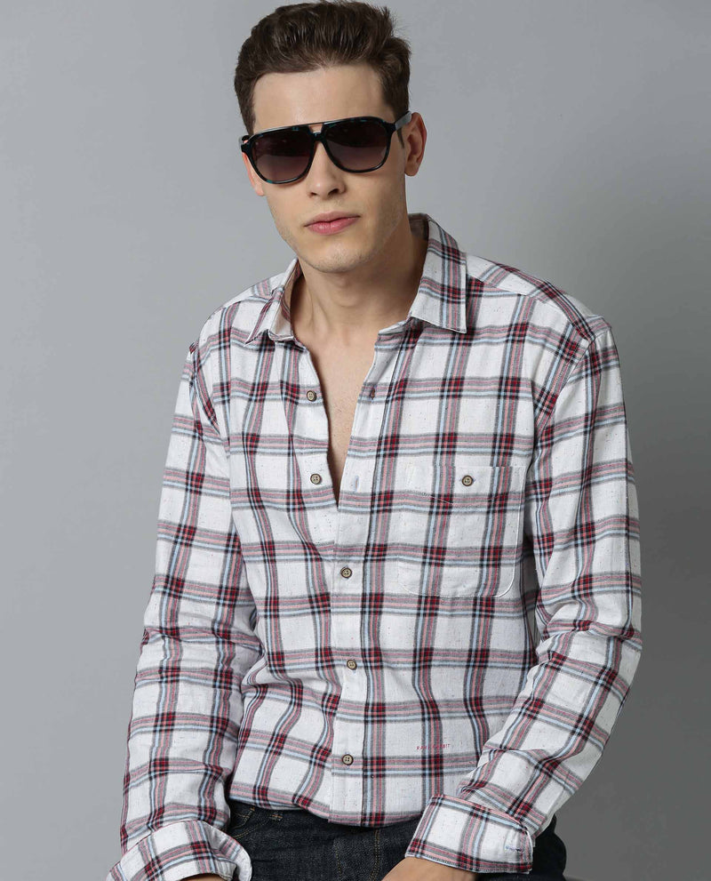 BIG BEN-MEN'S CHECK SHIRT-WHITE SHIRT RARE RABBIT