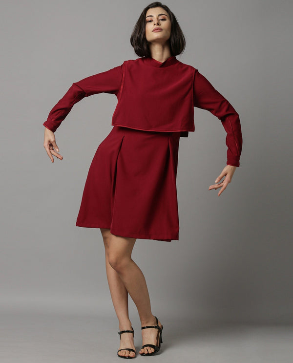 CLOVE-LAYERED SHORT DRESS-MAROON DRESS RAREISM
