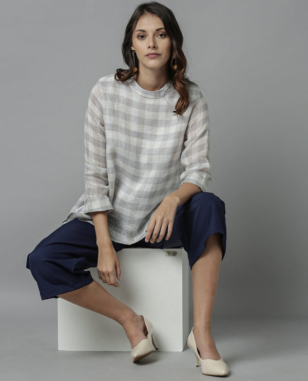 APRIL-LINEN TOP- GREY TOP RAREISM