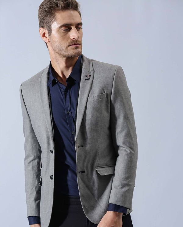 LEATHER PIPING BLAZER - CLASSICO GREY BLAZER RARE RABBIT