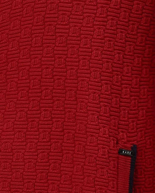 ARB-MEN'S ZIPPER CARDIGAN-RED SWEATER RARE RABBIT