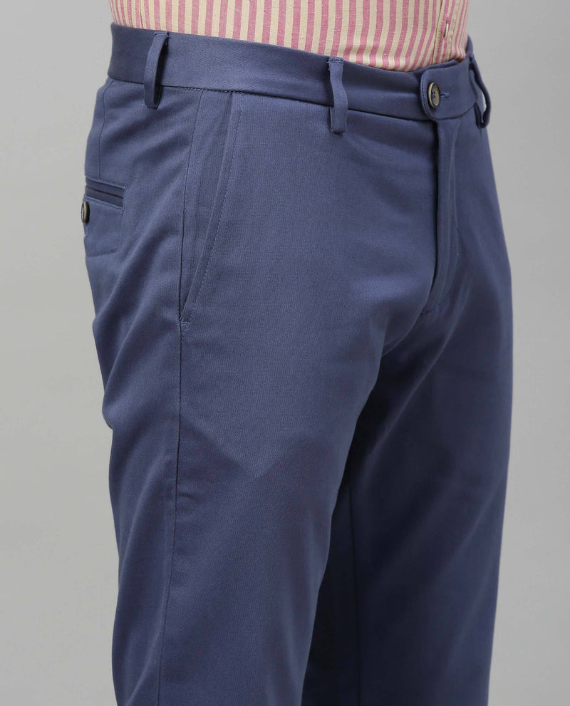 LEEN-FL-SOLID TROUSER-BLUE TROUSERS RARE RABBIT