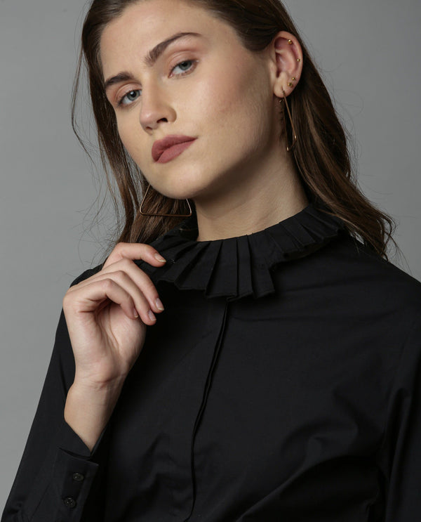 CROWN-DETACHABLE COLLAR SHIRT-BLACK TOP RAREISM